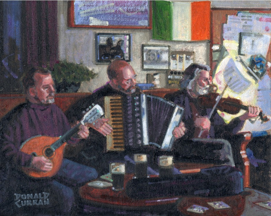 """Irish Pub Session"" original fine art by Donald Curran"