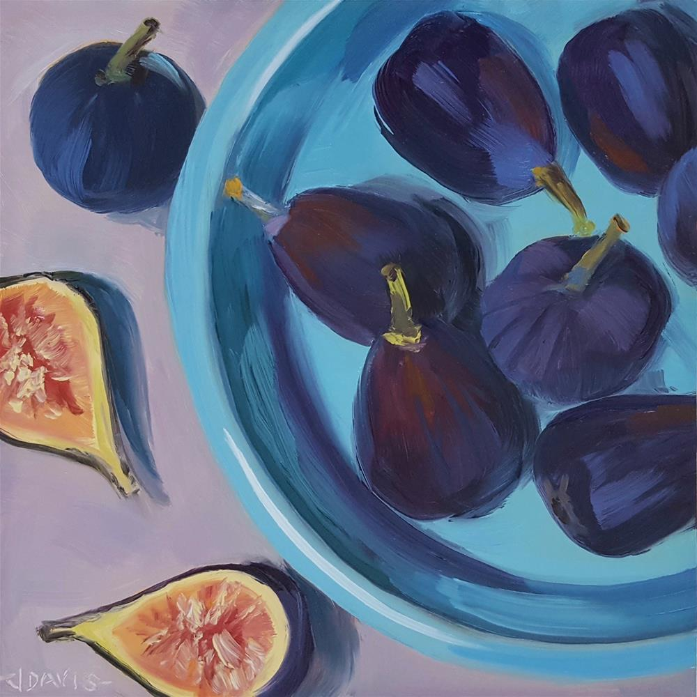 """Figs in Blue"" original fine art by Jacqueline Davis"