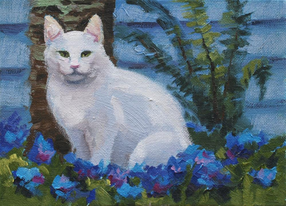 """Pangbur Ban and the Forget-me-nots"" original fine art by Susan McManamen"