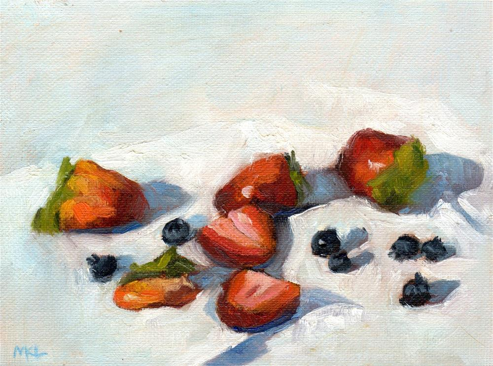 """Strawberries & Blackberries, 2015"" original fine art by Marlene Lee"
