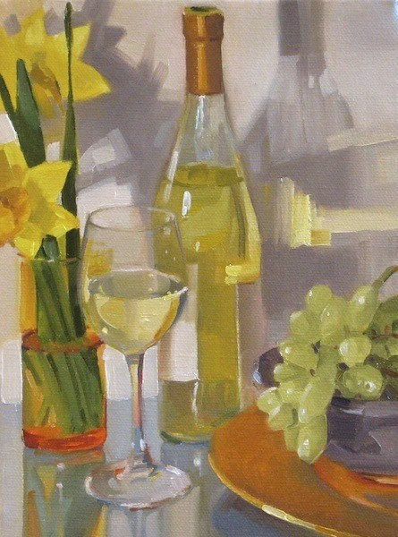 """A Glass of Riesling wine flowers floral art grapes fruit still life daily painting"" original fine art by Sarah Sedwick"
