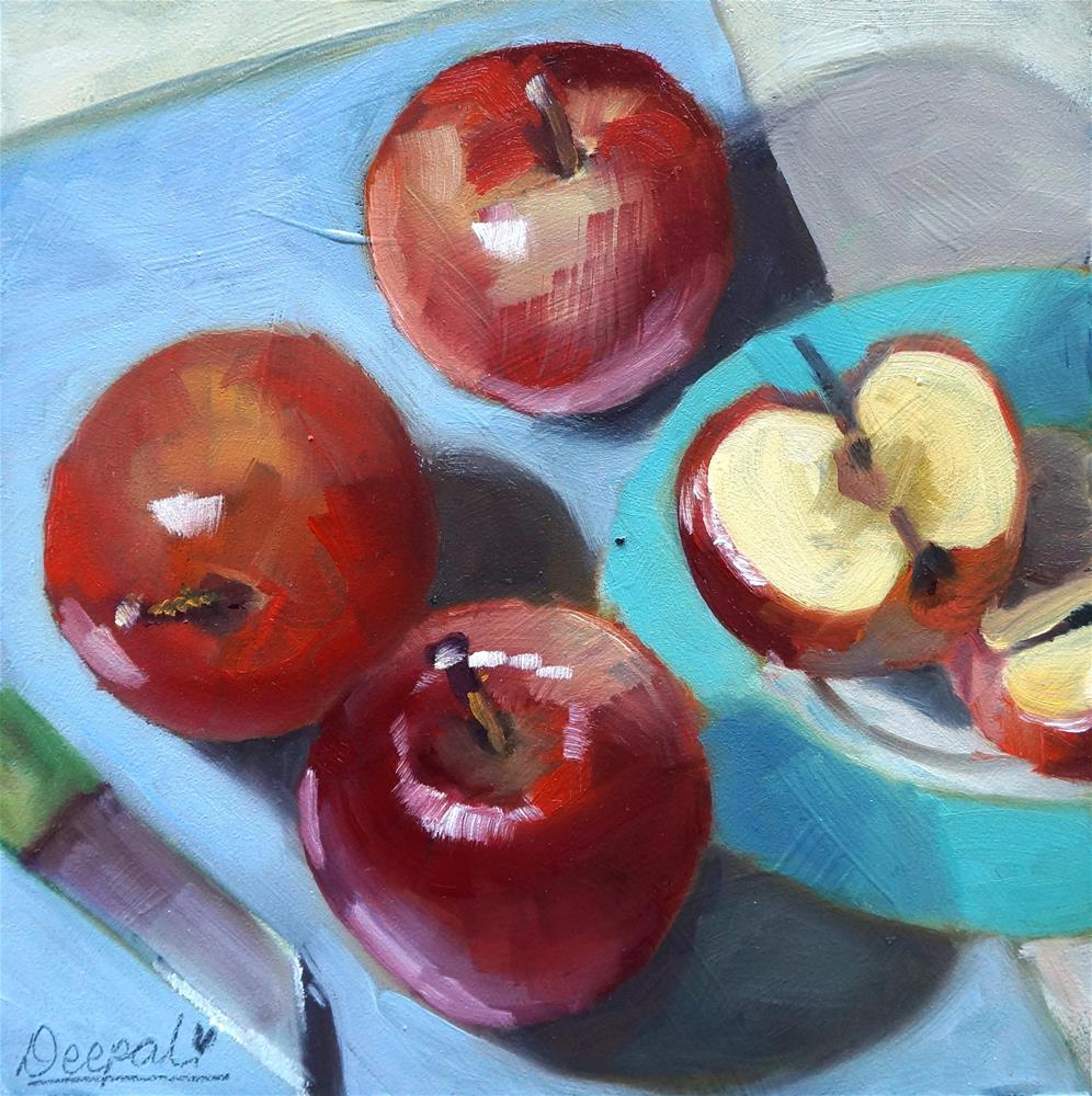 """Apples with Knife"" original fine art by Dipali Rabadiya"
