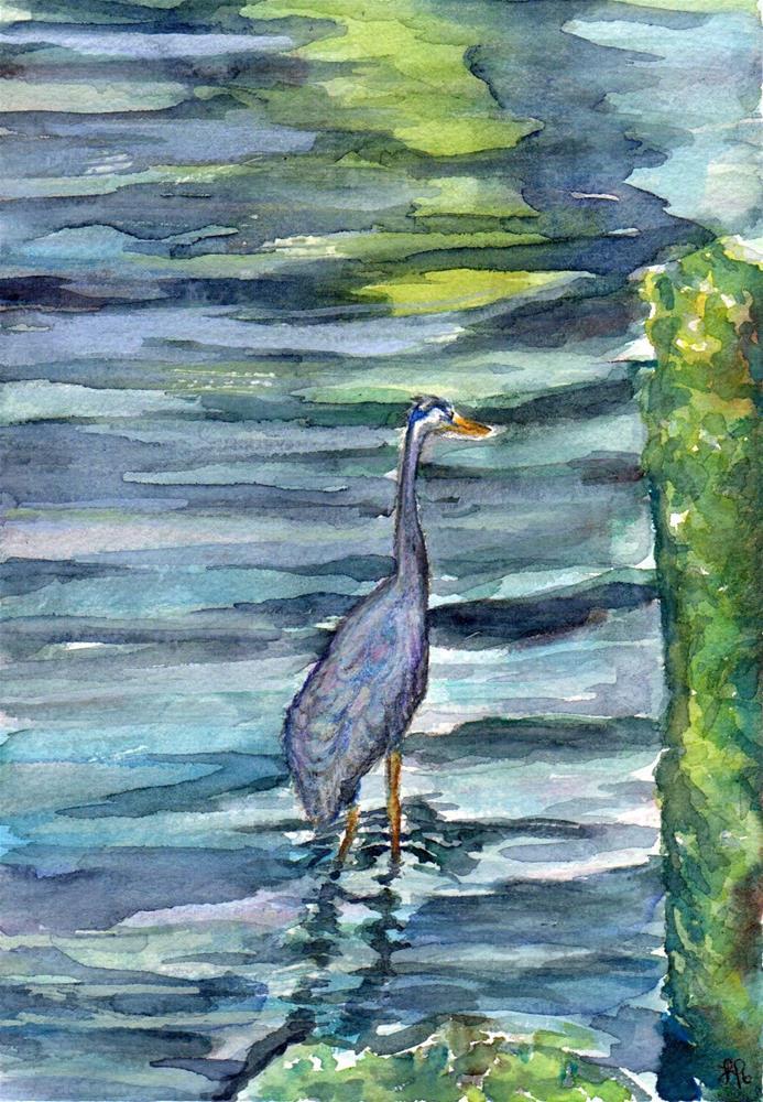 """Astoria Blue Heron"" original fine art by Laura Denning"