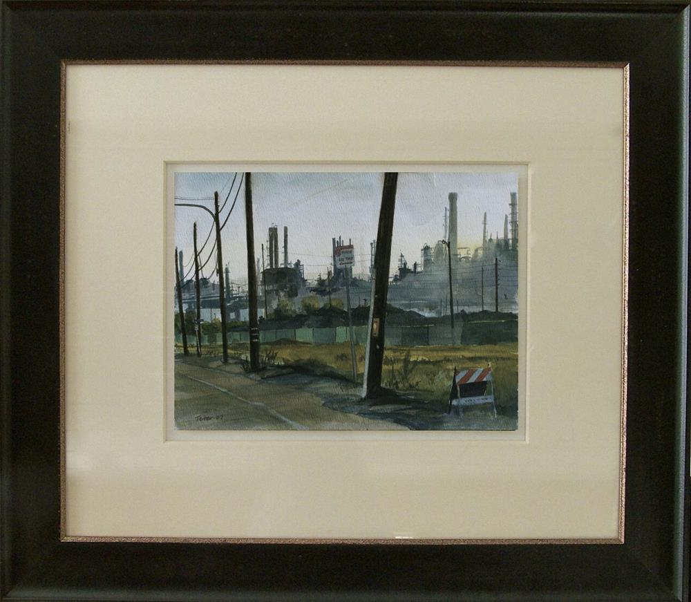 """Refinery, Power Poles, Sawhorse"" original fine art by David J. Teter"