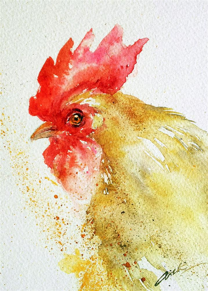 """Golden Rooster"" original fine art by Arti Chauhan"