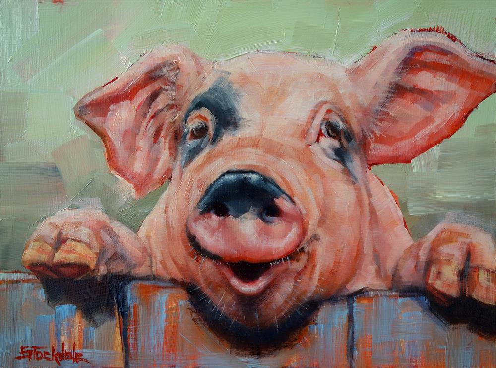 """Perky Pig"" original fine art by Margaret Stockdale"
