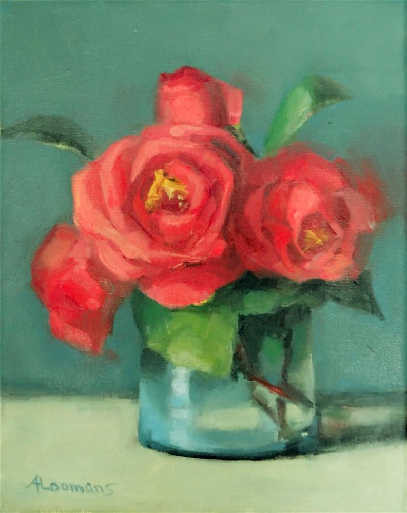 """Red Camellias"" original fine art by Adele Loomans"