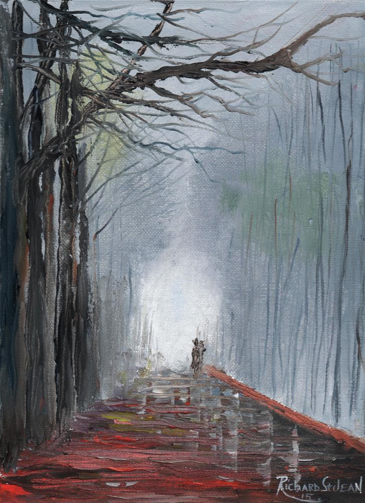 """Foggy Morning Walk"" original fine art by Richard St.Jean"