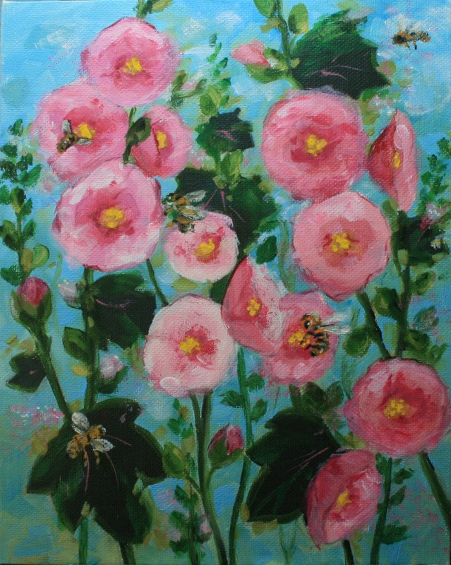 """""""Bees in the Hollyhocks"""" original fine art by Jean Nelson"""