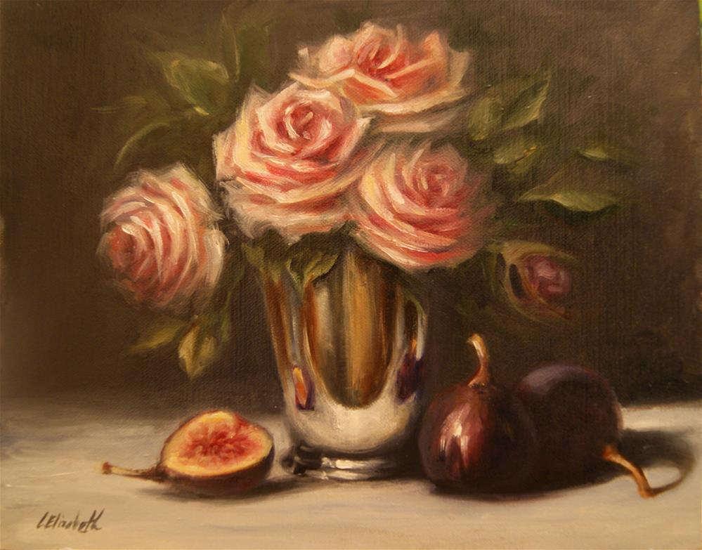 """Still Life with Roses, Figs and Mint Julep Cup"" original fine art by Carolina Elizabeth"