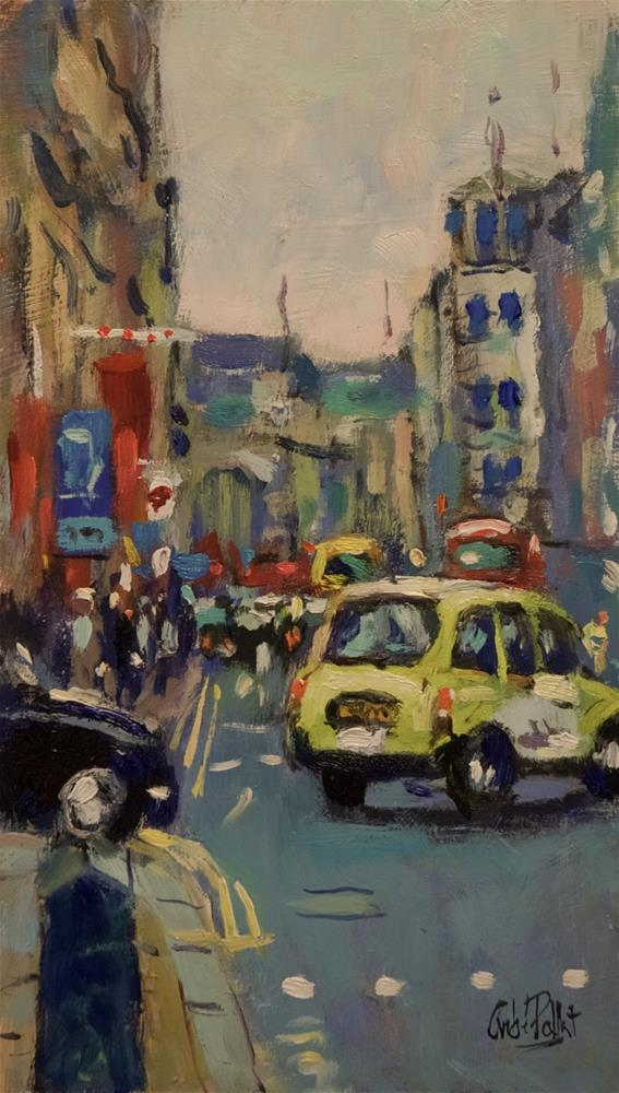 """Taxi in Piccadilly"" original fine art by Andre Pallat"