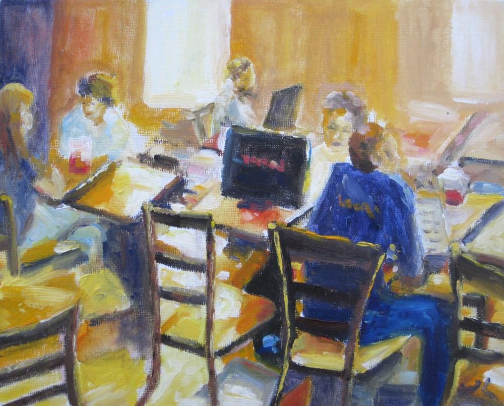 """Morning Cafe"" original fine art by Julia Lu"