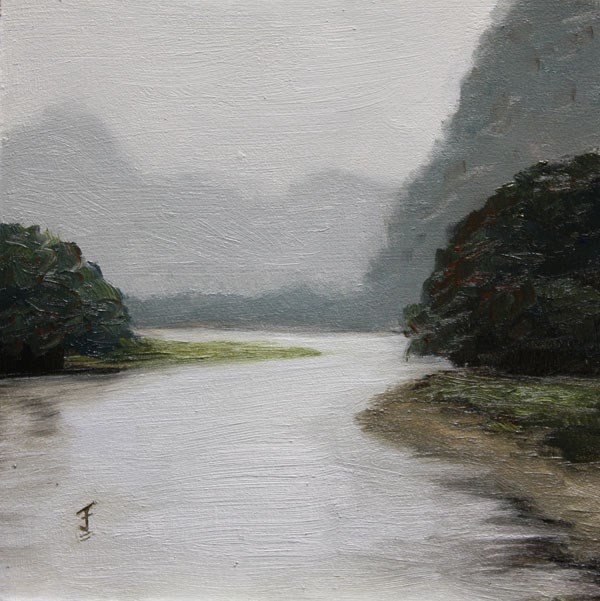 """Li River Haze Revisited"" original fine art by Jane Frederick"