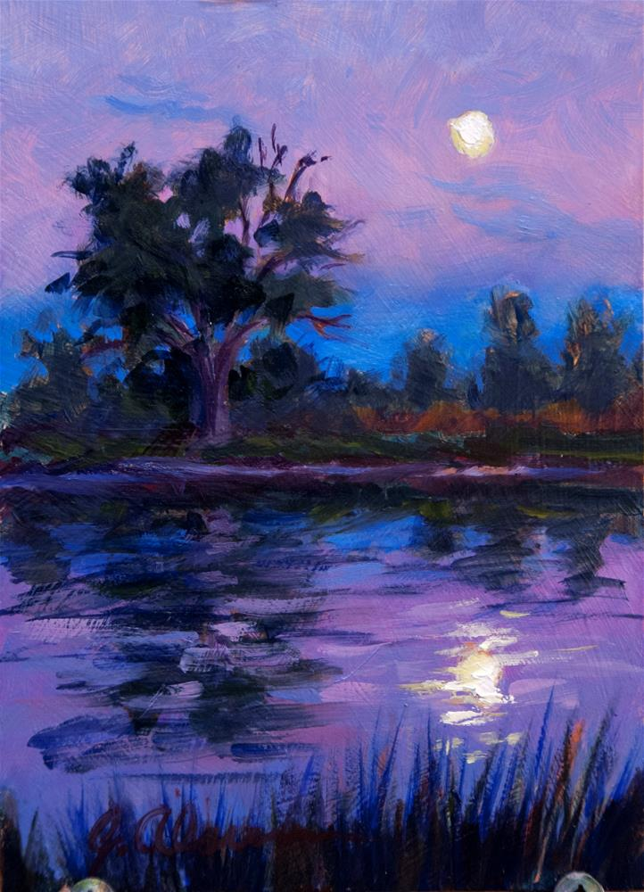 """Moonrise Over Emerald Glen Pond"" original fine art by Gary Alsum"