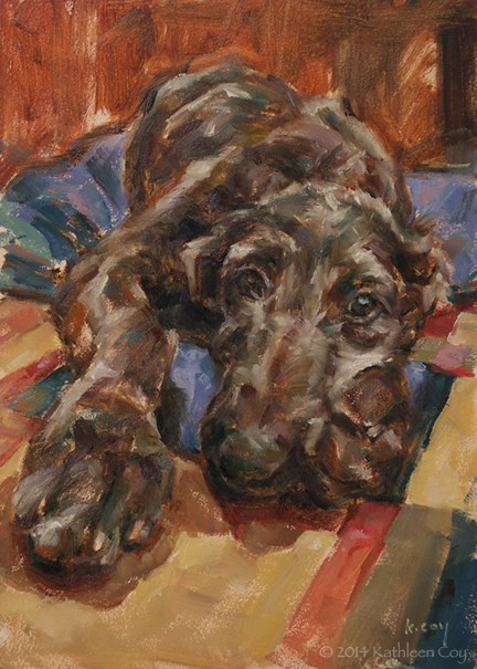 """Scottish Deerhound Puppy"" original fine art by Kathleen Coy"