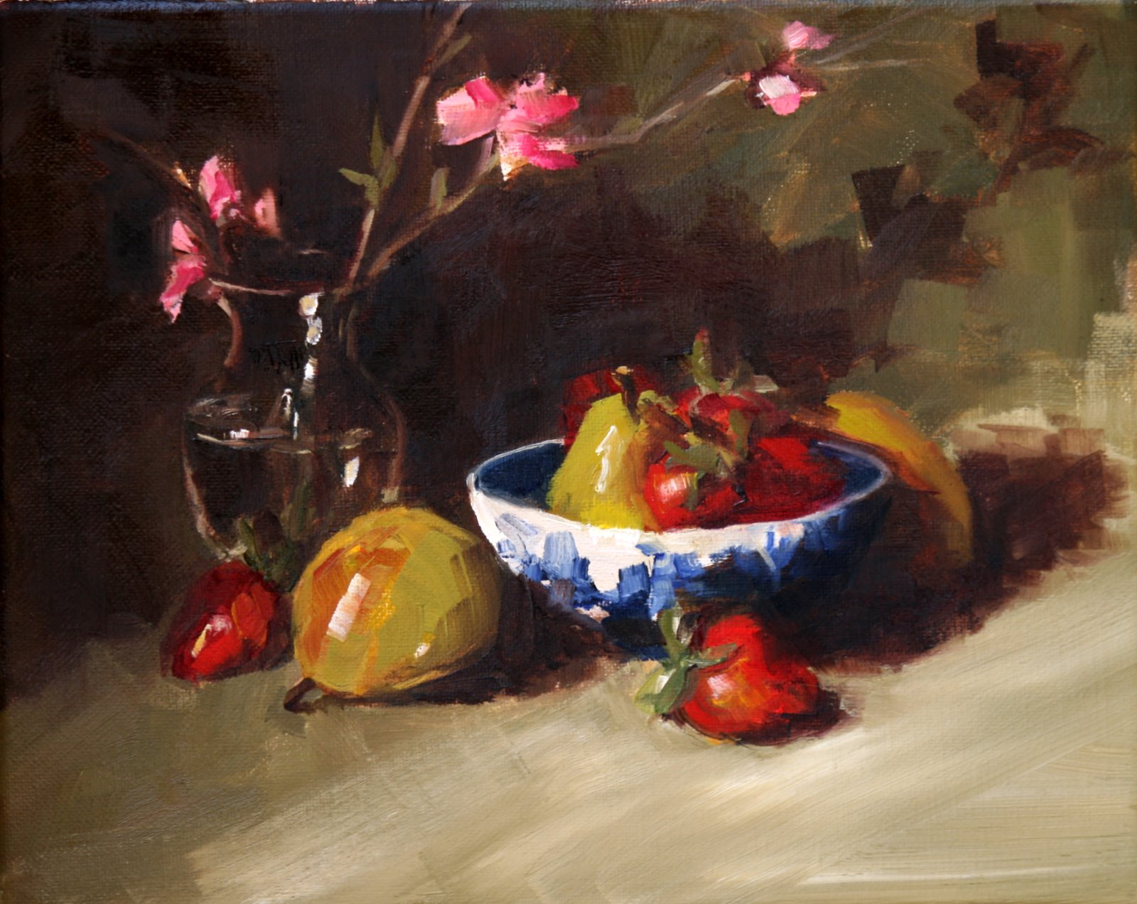 """strawberries and pears in wedgewood bowl"" original fine art by Carol Carmichael"