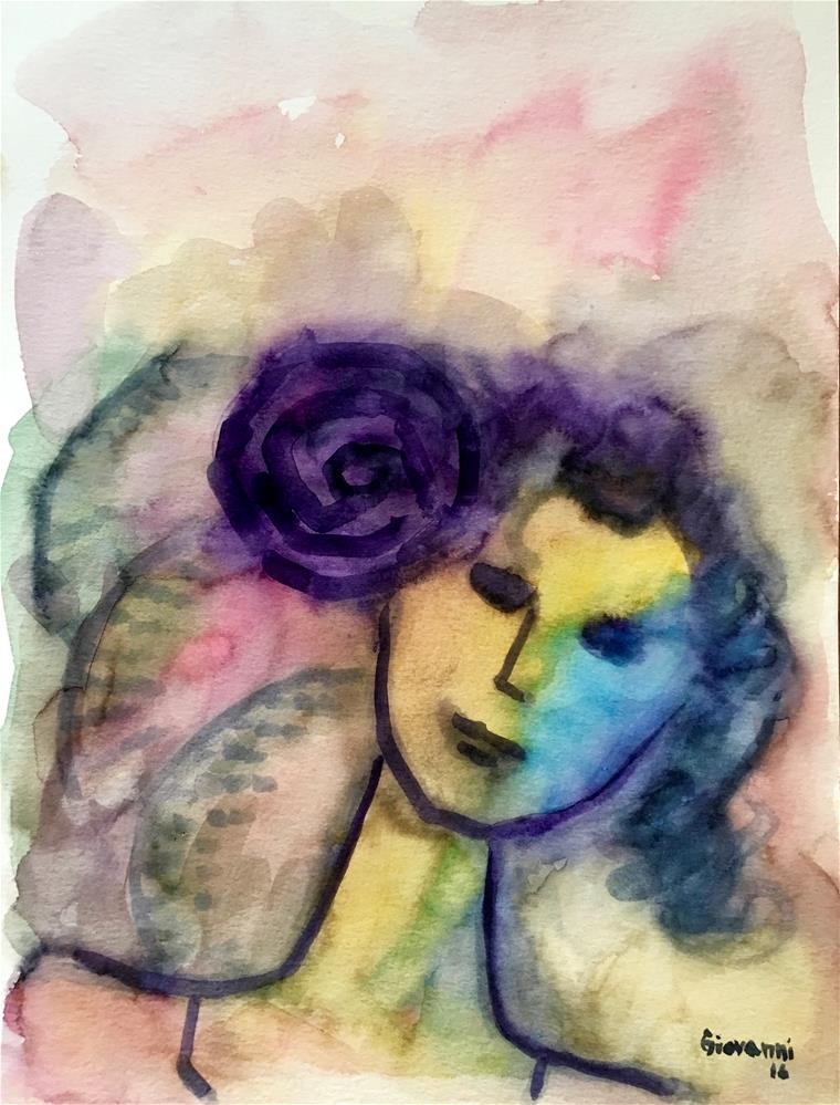 """Woman with purple flower"" original fine art by Giovanni Antunez"