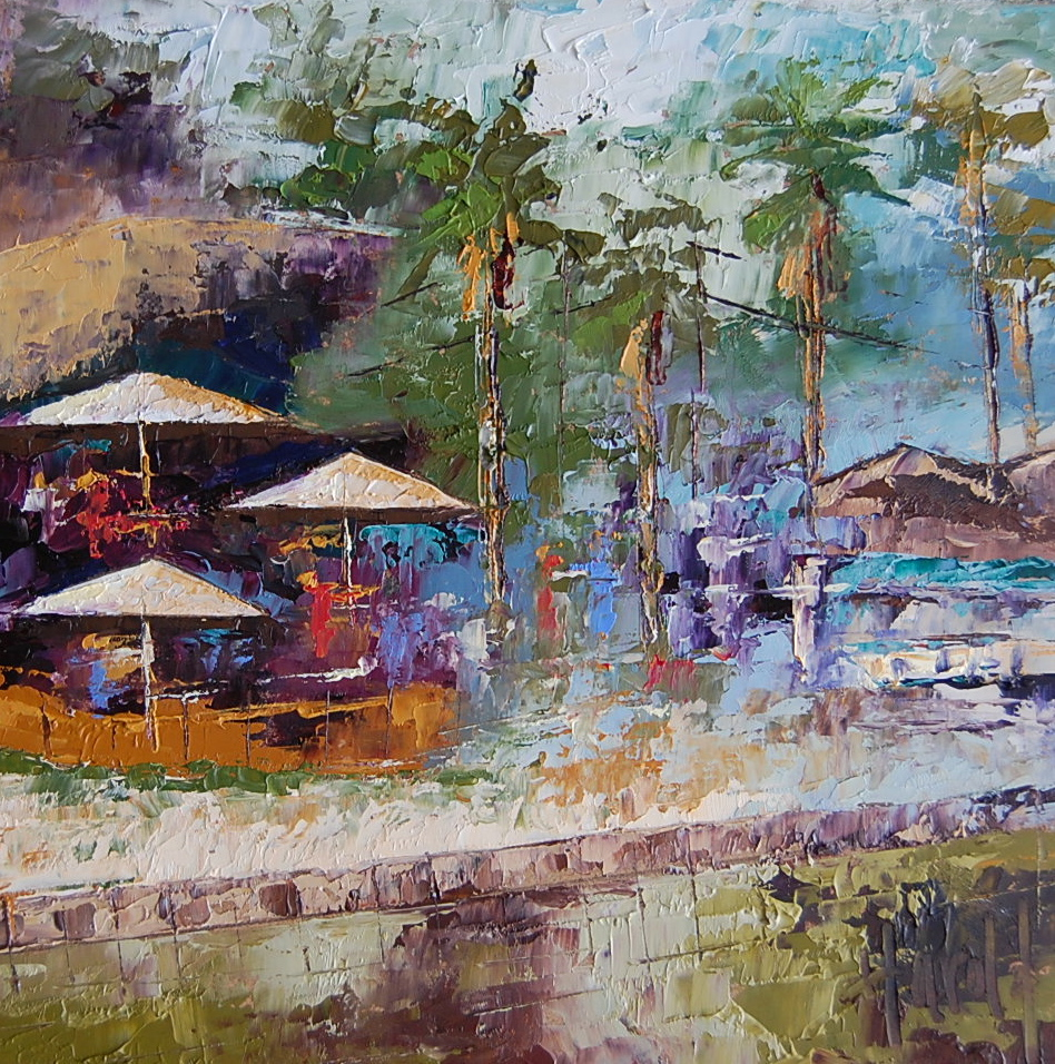 """Abstract Bar Scene at Crystal Cove"" original fine art by Deborah Harold"