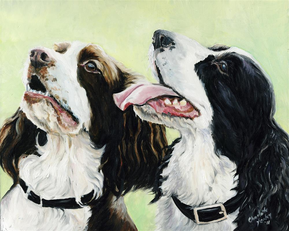 """Two English Springer Spaniels"" original fine art by Charlotte Yealey"