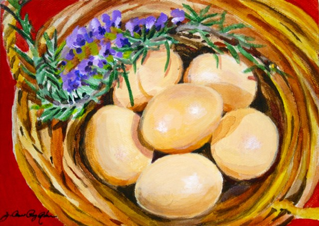 """Rosemary and Fresh Eggs"" original fine art by JoAnne Perez Robinson"
