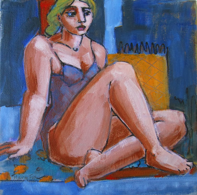 """Figurative female painting, figure study of seated woman, contemporary figure painter, figuration"" original fine art by Marie Fox"