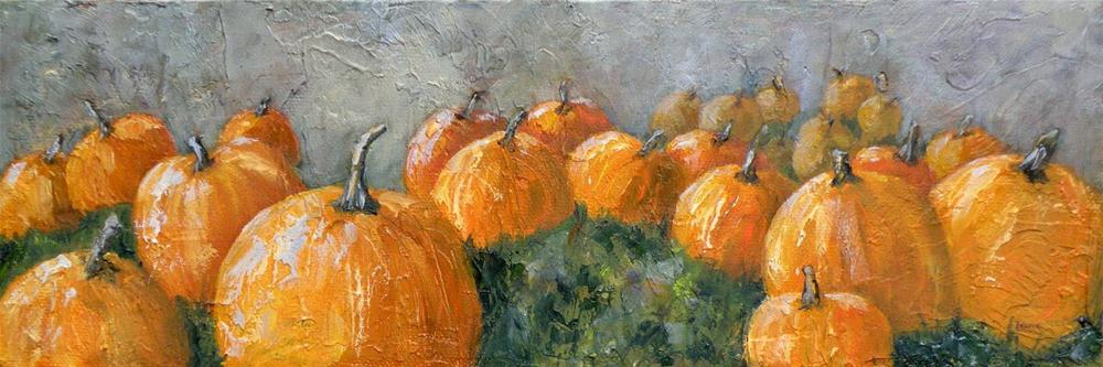 """PUMPKIN PATCH AT DAWN ORIGINAL MIXED MEDIA © SAUNDRA LANE GALLOWAY"" original fine art by Saundra Lane Galloway"