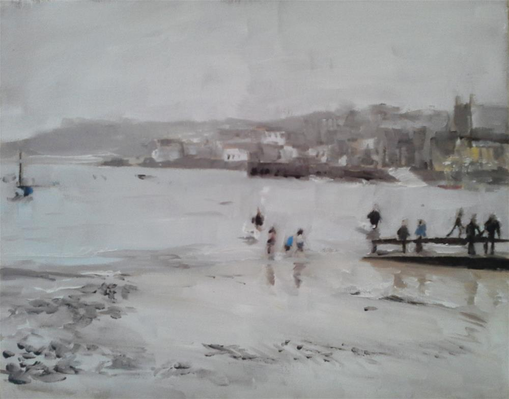 """St Ives, Cornwall One Wet Evening"" original fine art by James Coates"