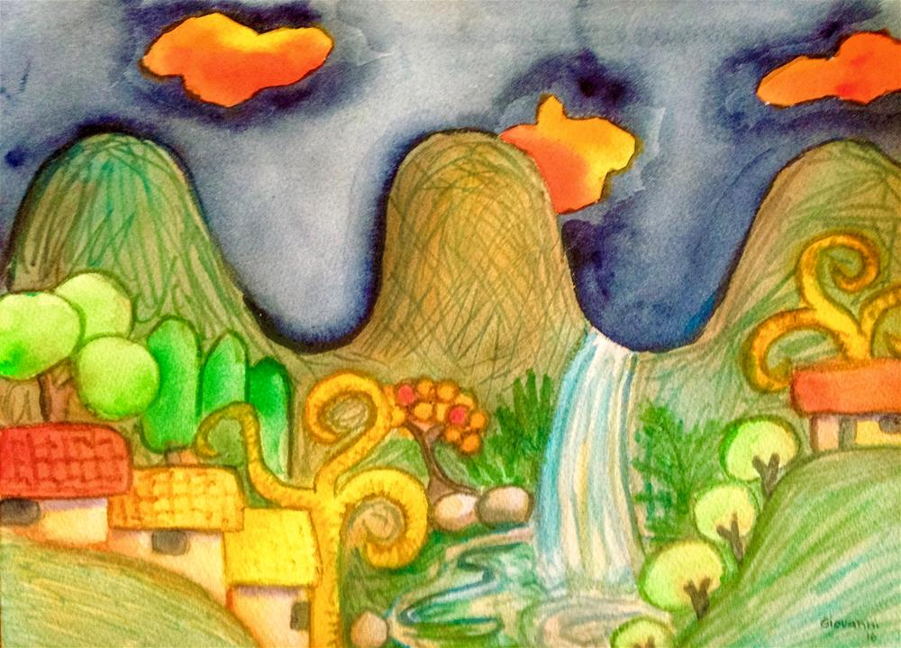 """""""My little town"""" original fine art by Giovanni Antunez"""