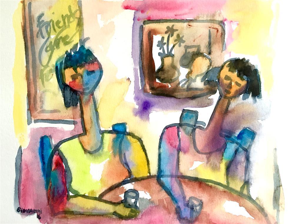 """Friends enjoying time together"" original fine art by Giovanni Antunez"