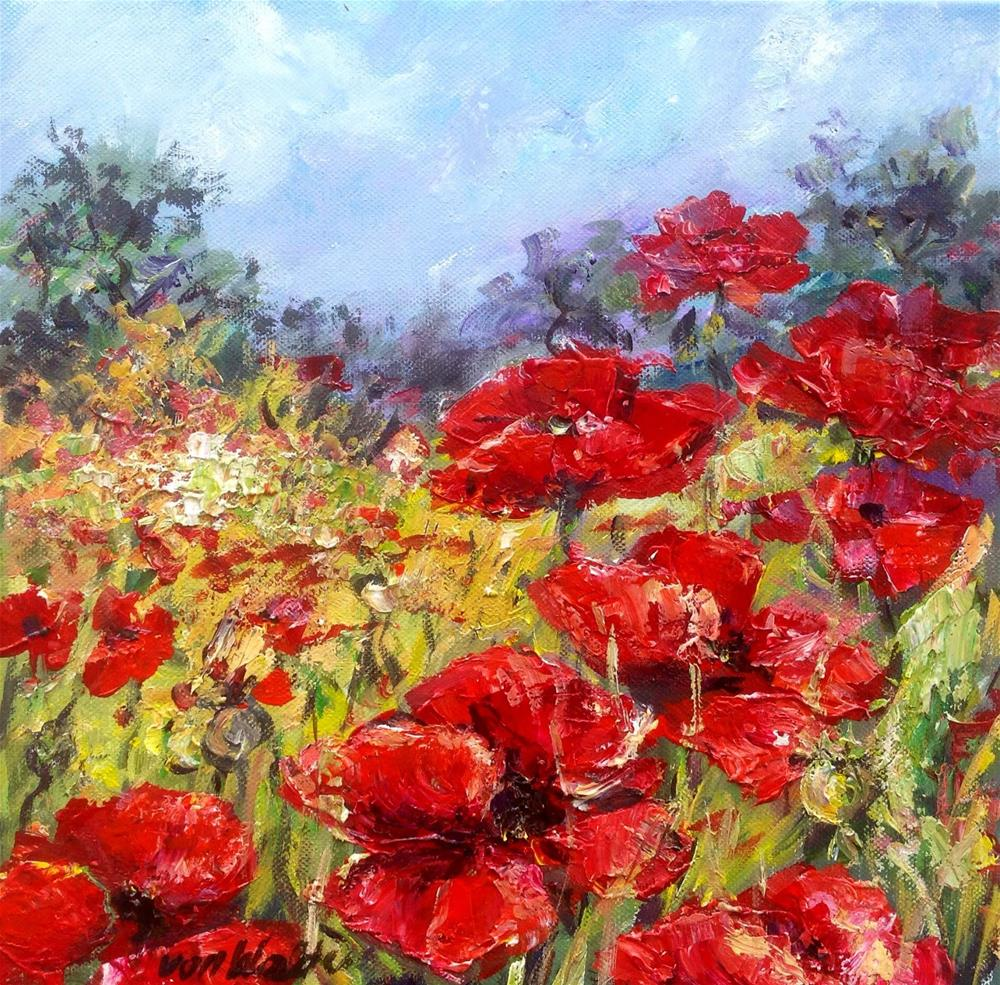 """Poppies field"" original fine art by Sonia von Walter"