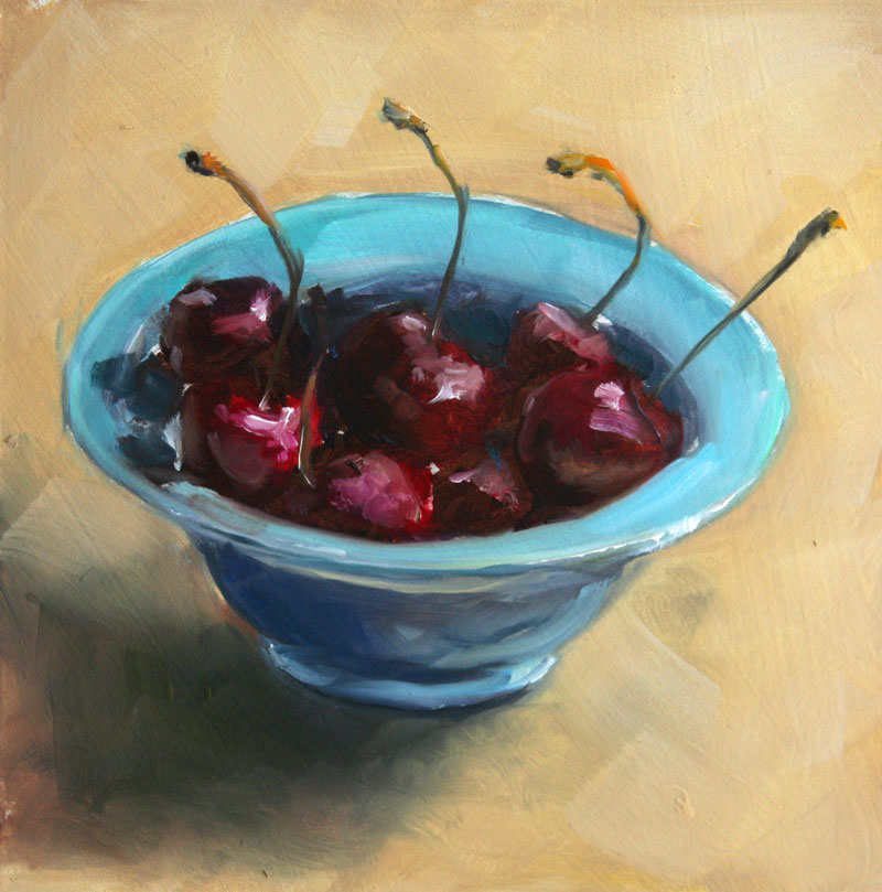 """Bowl of Cherries & Downtown Dog Paint Sketch"" original fine art by Clair Hartmann"