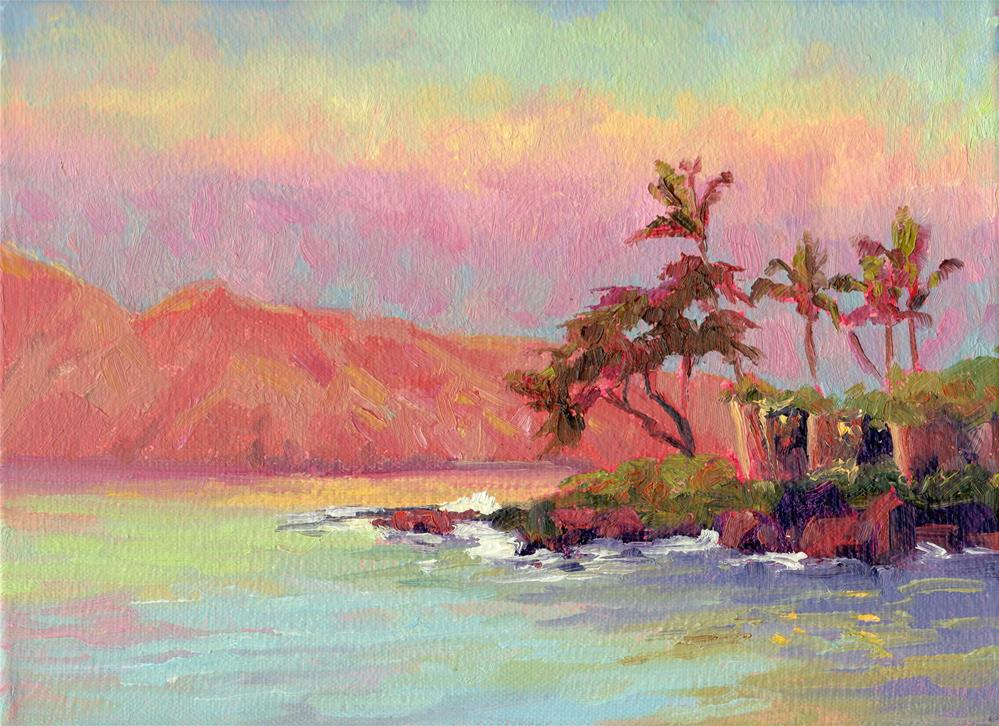 """RESORT AT SUNRISE"" original fine art by Karen E Lewis"