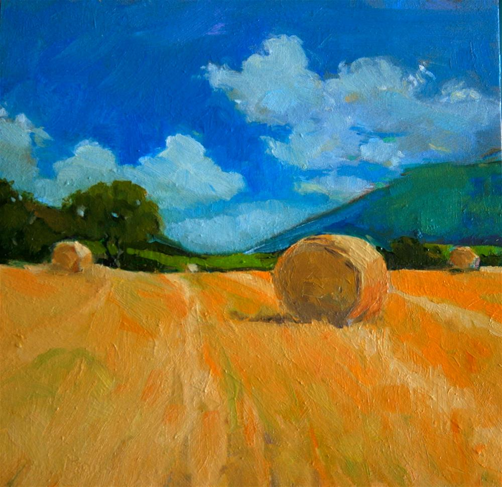 """Straw Bales at Devonshire 2"" original fine art by Jane Robertson"