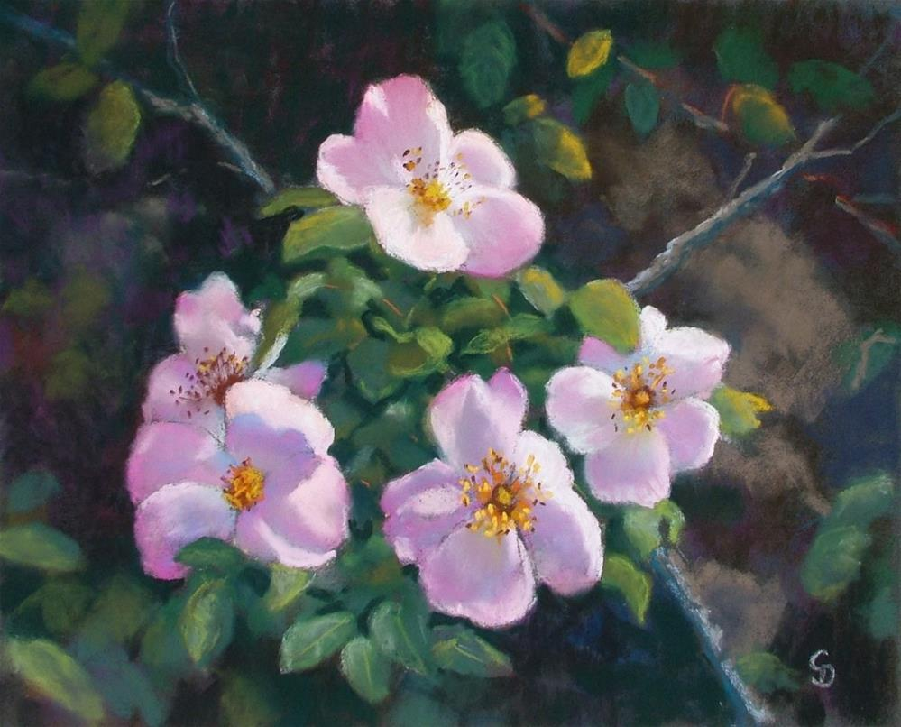 """Roses on the Wall"" original fine art by Christine Derrick"