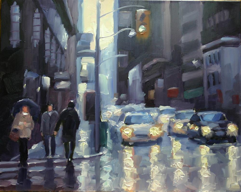 """Rain at Bay and Richmond"" original fine art by Catherine Jeffrey"