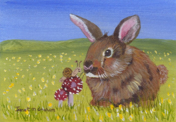 """Bunny ACEO"" original fine art by Janet Graham"