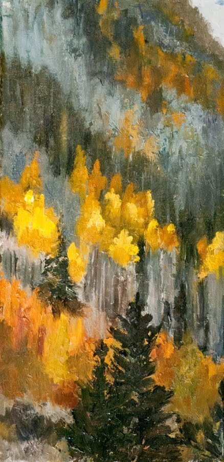 """KM2852 Fleeting Moment by Colorado artist Kit Hevron Mahoney ( 16x8, Colorado landscape, fall aspen)"" original fine art by Kit Hevron Mahoney"