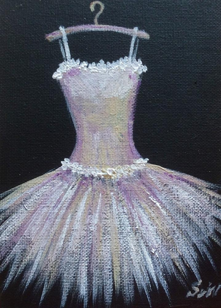 """White toutou dress"" original fine art by Sonia von Walter"