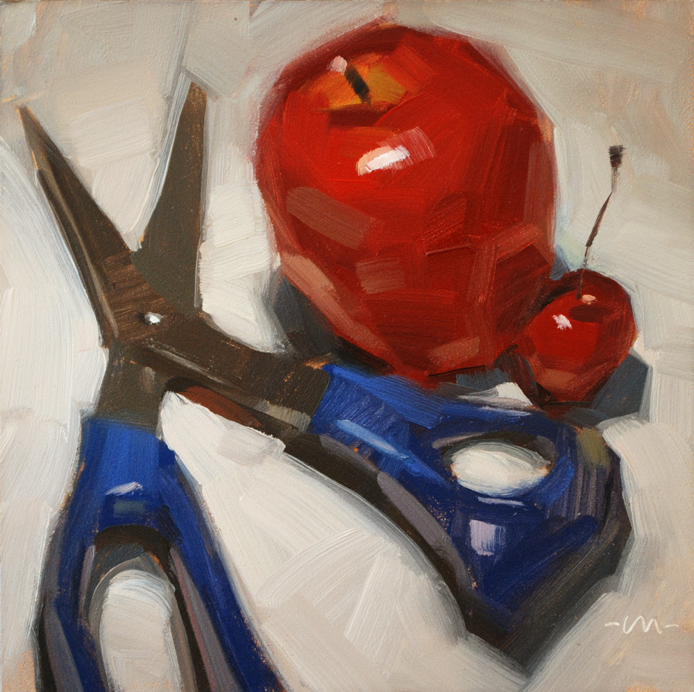 """Cutting Fruit"" original fine art by Carol Marine"