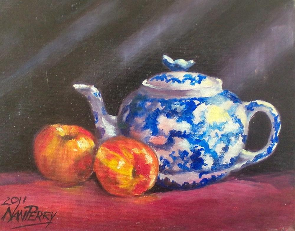 """Teapot with Fruit"" original fine art by Nan Perry"