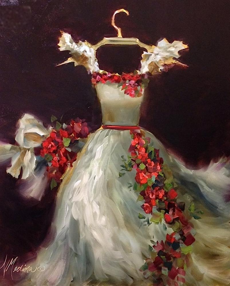 """A True Story of Romance and Fashion ~ She Wore a White Dress With Roses - Paintings by Nancy Medina"" original fine art by Nancy Medina"