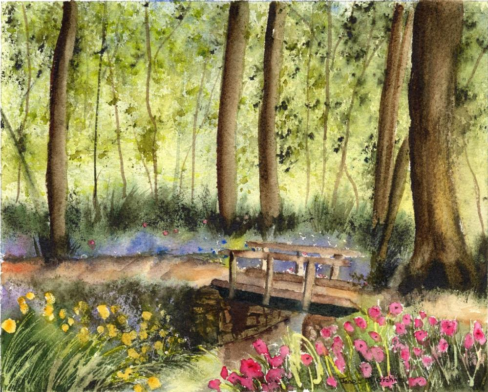 """Woodland Bridge"" original fine art by Janet Graham"