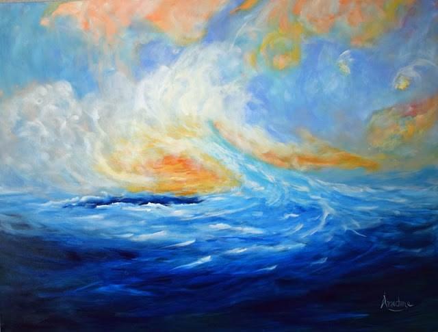 """Impressionistic Contemporary Seascape Painting Dreams Make Us Come Alive by Contemporary Internati"" original fine art by Arrachme Art"