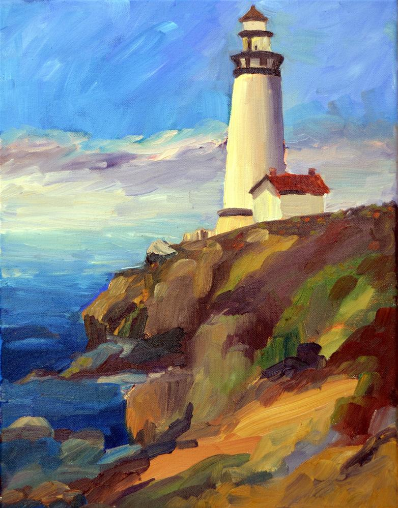 """Pigeon Point Lighthouse"" original fine art by Loralee Chapleau"