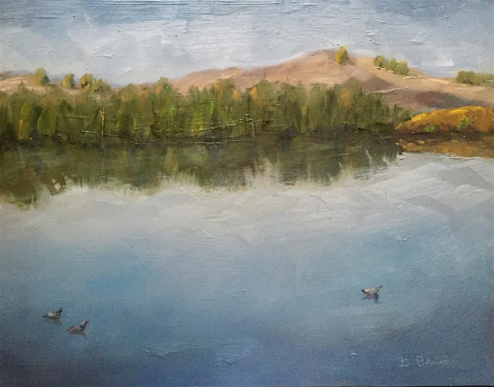 """Kenneth Hahn Lake"" original fine art by Gary Bruton"