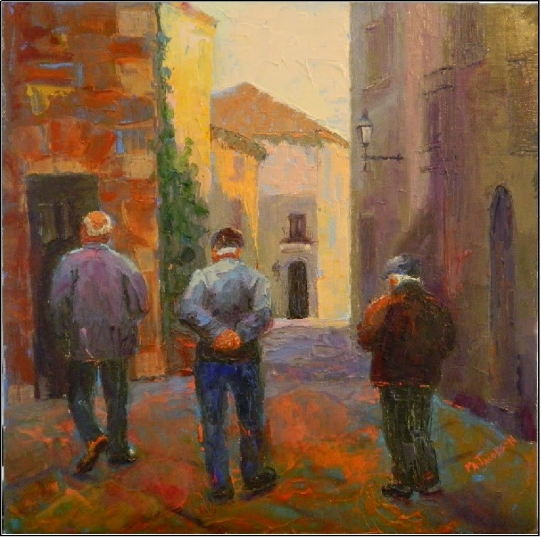 """Senior Stroll, 12x12, oil on board, figurative, three men walking, seniors, European cityscape, MA"" original fine art by Maryanne Jacobsen"