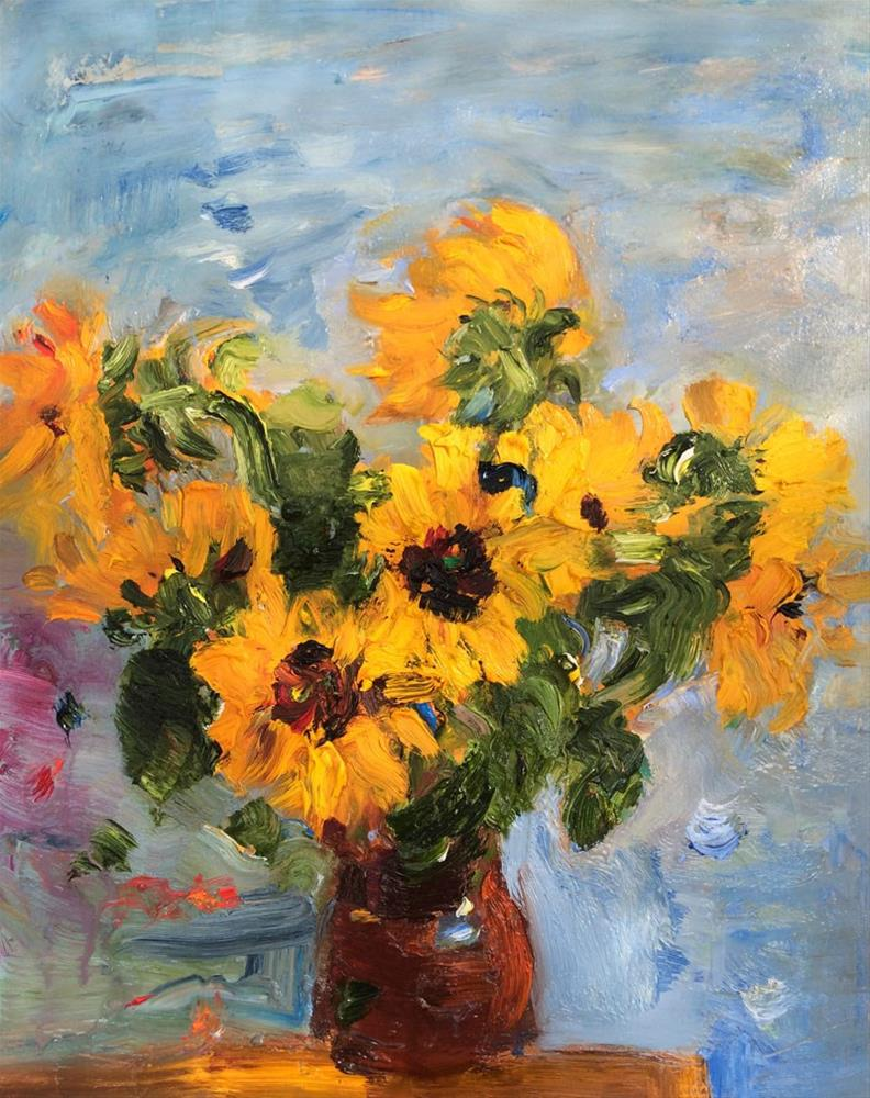 """Bouquet of Sunflowers in a Clay Jug"" original fine art by Anna  Fine Art"