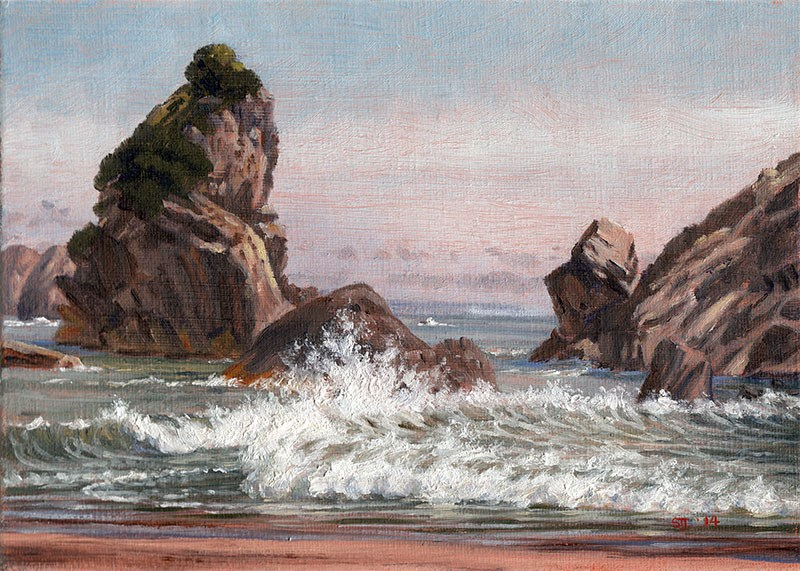 """C1562 ""The Meeting Engagement"" (at the Arch Rock, Harris Beach, Brookings, Oregon Coast)"" original fine art by Steven Thor Johanneson"