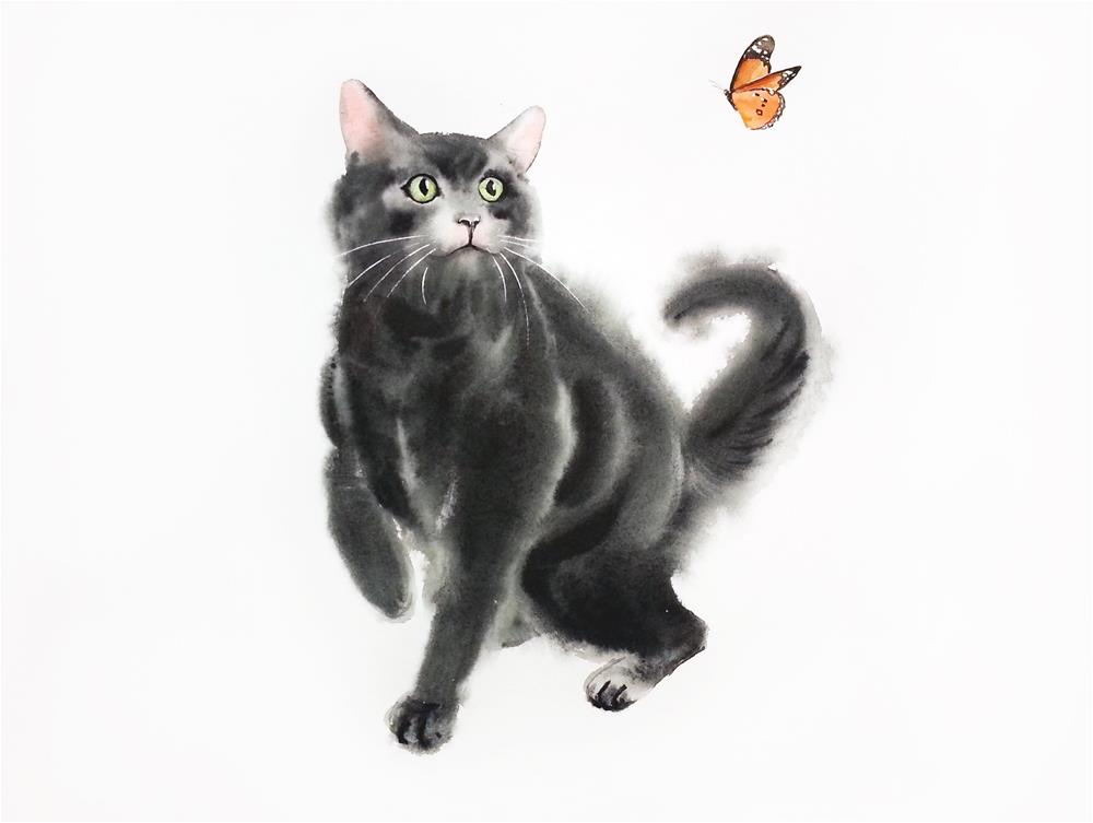 """""""Black Cat Playing with Butterfly"""" original fine art by Olga Beliaeva"""