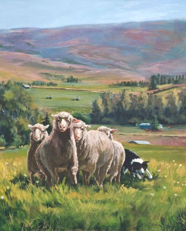 """Original Colorado Landscape Painting With Sheep A Fine Day in Meeker by Colorado Artist Nancee Jea"" original fine art by Nancee Busse"